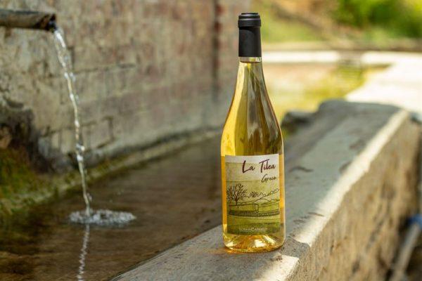 """bottiglia """"la tilea"""" con lo sfondo della fontana"""